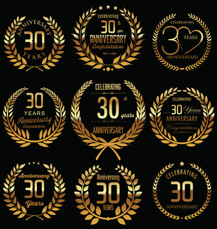 30th: 30th Anniversary golden laurel wreath design