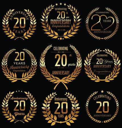 20th Anniversary golden laurel wreath design Vettoriali