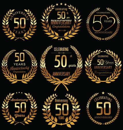 50th Anniversary golden laurel wreath design
