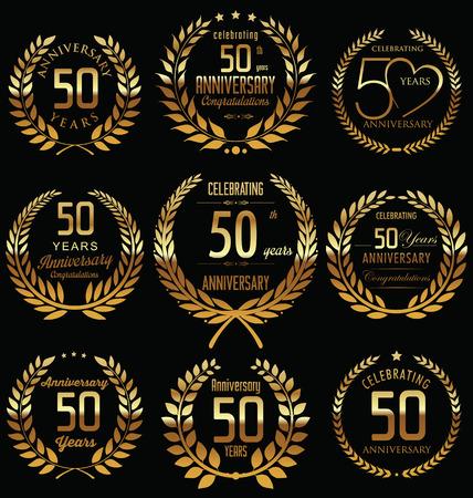 50th Anniversary golden laurel wreath design Vector