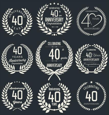 40: Anniversary laurel wreath design Illustration