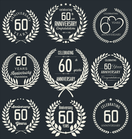 60th: 60th Anniversary laurel wreath design