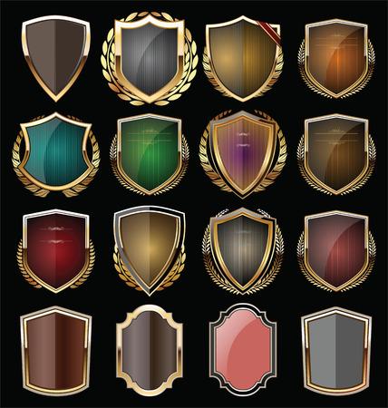 Colección de escudo de oro Foto de archivo - 34683085