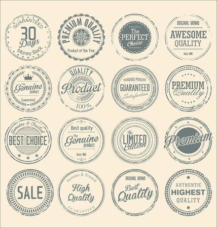 Set of vintage style grungey circular stamps