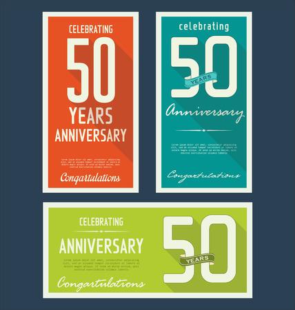 anniversaire: collection d'�tiquettes anniversaire, 50 ann�es Illustration