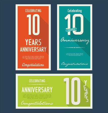 anniversaire: collection d'�tiquettes anniversaire, 10 ann�es