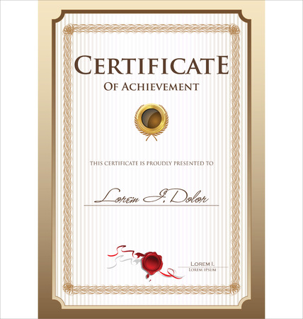 gold swirls: Certificate template Illustration