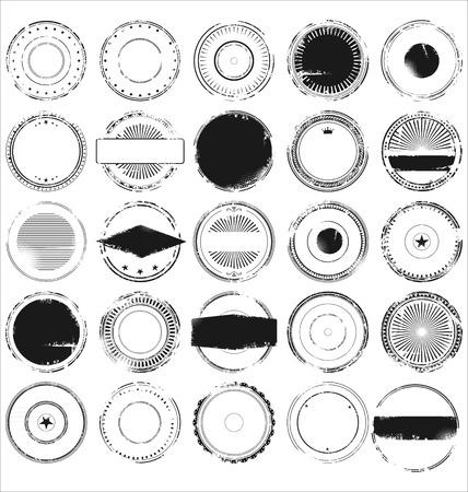 sello postal: Conjunto de sello de caucho de grunge abstracta