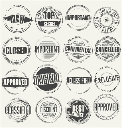 Abstract grunge rubber stamp set Vettoriali