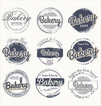 Set of vintage bakery grunge labels