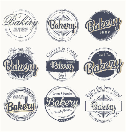 Set of vintage bakery grunge labels Vector