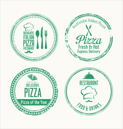 specialities: Pizza grunge rubber stamps