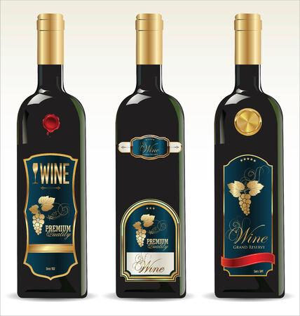 winetasting: Black bottles for wine with gold and blue labels Illustration