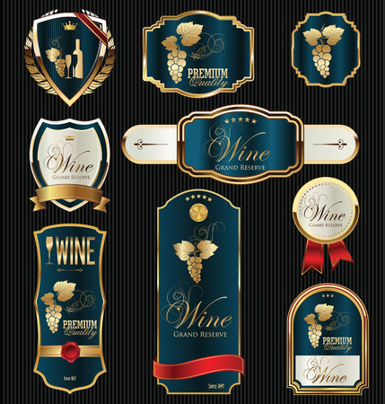 wine label: black gold framed labels