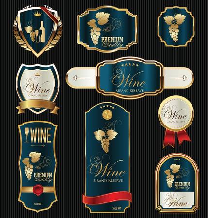 wine food: black gold framed labels