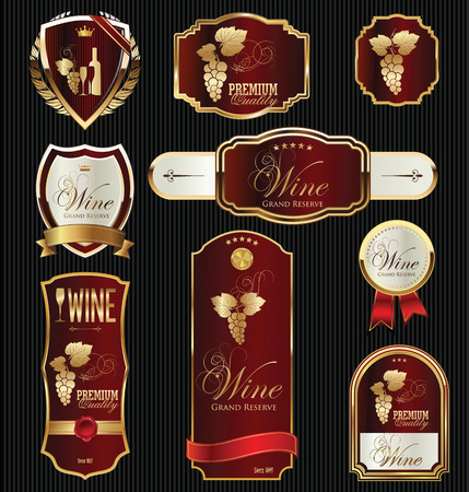 wine label design: black gold framed labels