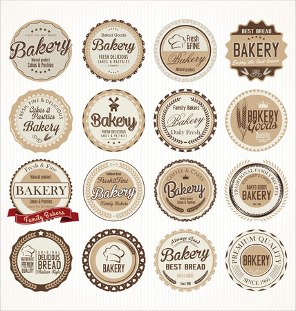 seal stamp: Set of vintage bakery labels