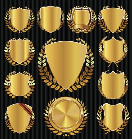insignias: Escudo de oro y recogida corona de laurel Vectores