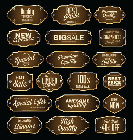 exclusive icon: Metal plates premium quality golden collection Illustration