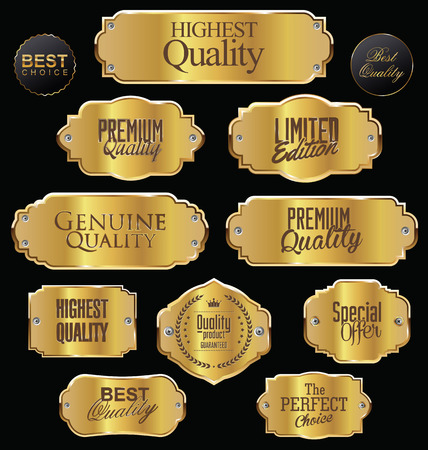 metal sign: Metal plates premium quality golden collection Illustration