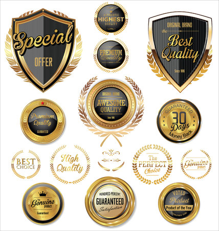 quality stamp: Premium, quality retro vintage labels collection