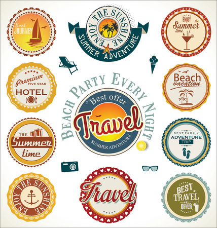 Summer and travel labels Vector