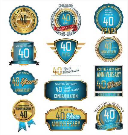commemoration: Anniversary retro badges and labels collection