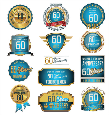 60 years: Anniversary retro badges and labels collection, 60 years Illustration