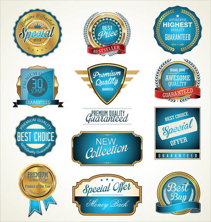 Premium, quality retro vintage labels collection Vector