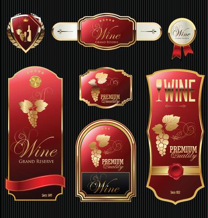 Collezione etichetta vino dorato Archivio Fotografico - 36927113