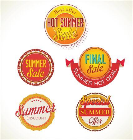 Set of summer sales labels Vector