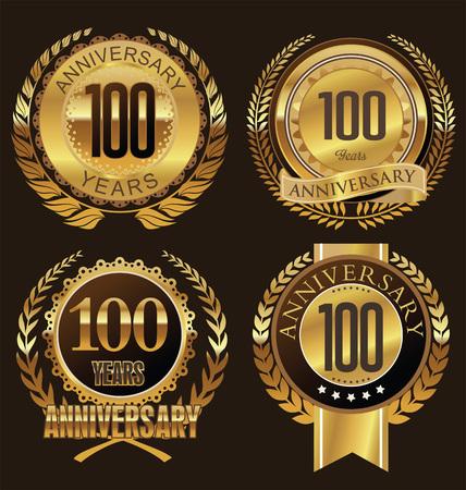 gold age: Anniversary laurel wreath design, 100 years Illustration