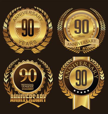 90 years: Anniversario disegno corona di alloro, 90 anni Vettoriali