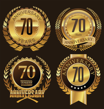 commemoration: Anniversary laurel wreath design, 70 years Illustration