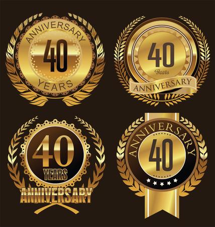 Anniversary laurel wreath design, 40 years Vettoriali