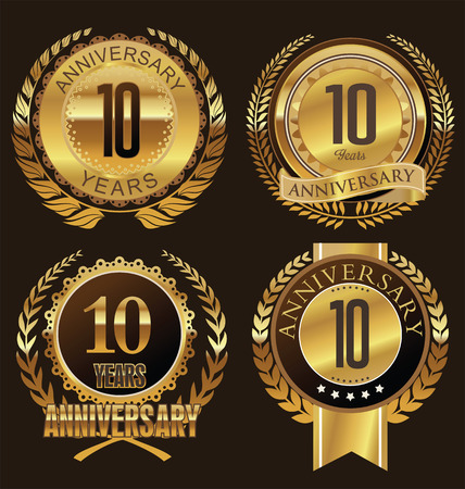 10 years: Anniversary laurel wreath design, 10 years Illustration