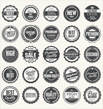 old stamp: Premium, quality retro vintage labels collection