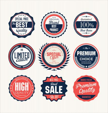 badge: Premium, quality retro vintage labels collection