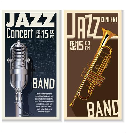 microfono antiguo: Jazz festival de música, cartel Vectores