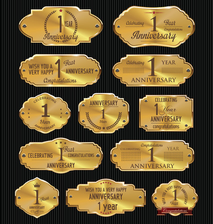 golden laurel wreath 10 years: Anniversary golden labels collection, 1 year Illustration