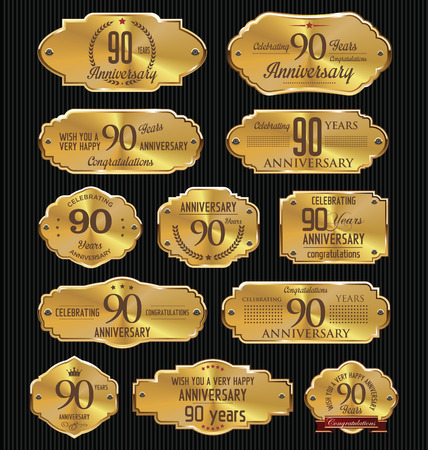 90: Anniversary golden labels collection, 90 years Illustration