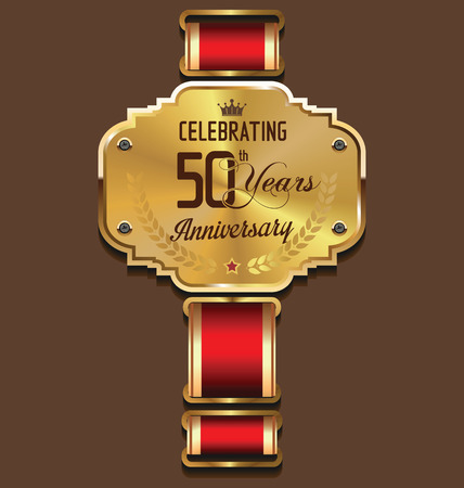golden laurel wreath: Anniversary golden label, 50 years Illustration