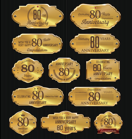 80: Anniversary golden labels collection, 80 years Illustration