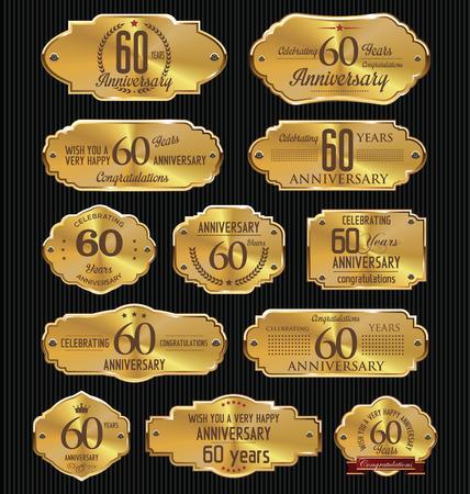 60: Anivers�rio cole��o etiquetas dourado, 60 anos
