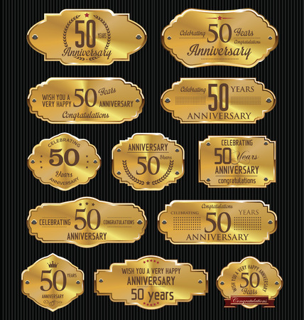 Anniversary golden labels collection, 50 years Vettoriali