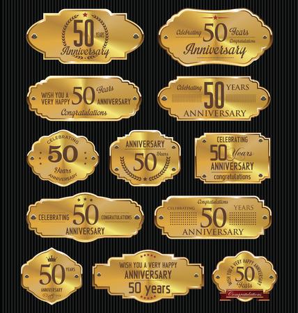 anniversario di matrimonio: Anniversario d'oro raccolta etichette, 50 anni Vettoriali