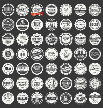 label sticker: Premium, quality retro vintage labels collection