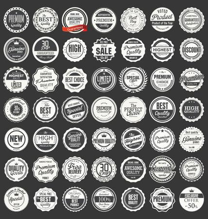 Premium, retro vintage etiquetas de calidad colección Ilustración de vector