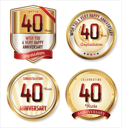 Anniversary golden labels collection Vector