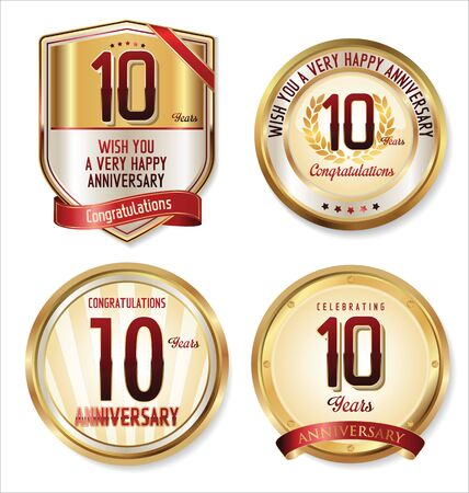 golden laurel wreath 10 years: Anniversary golden labels collection